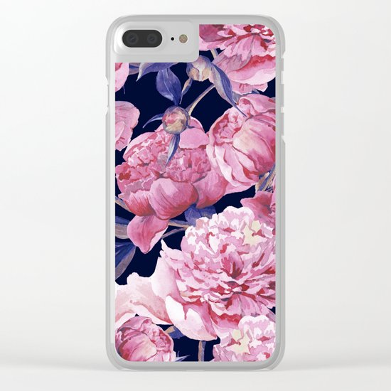 Flower Fashion Print Clear iPhone Case