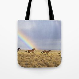 Wild Horses Before A Rainbow Tote Bag