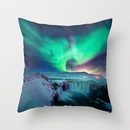 Aurora Borealis Over A Waterfall Throw Pillow