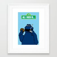 cookie monster Framed Art Prints featuring Cookie Monster by M.REYES