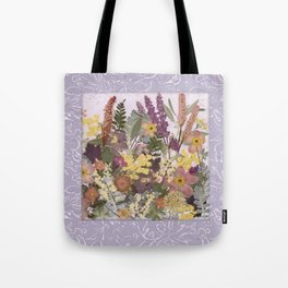 Pressed Flower English Garden Tote Bag