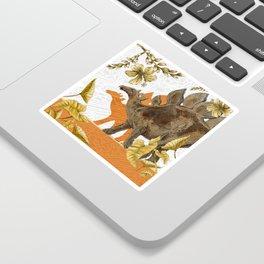 Jurassic Stegosaurus: Orange & Gold Sticker
