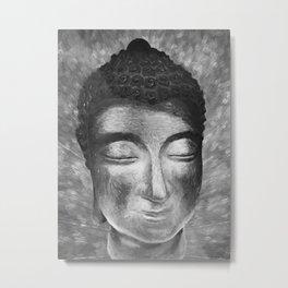 Silver buddha head by Brian Vegas Metal Print