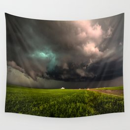 May Thunderstorm - Twisting Storm Over House in Colorado Wall Tapestry