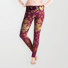 Antique Rose and Gold Pattern Print Leggings