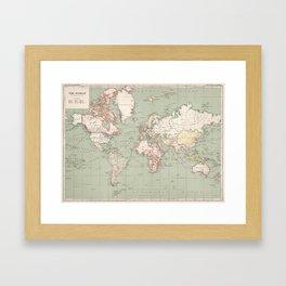 Vintage Map of The World (1915) Framed Art Print