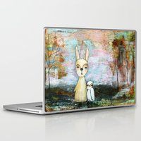 best friend Laptop & iPad Skins featuring My Best Friend, Abstract Landscape Art Painting Rabbit Owl Grunge by Itaya Art