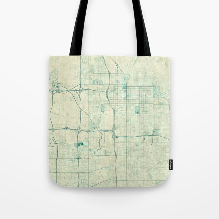 Salt Lake City Map Blue Vintage Tote Bag