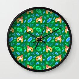 Pretty beautiful cute little birds and green blue delicate leaves green pattern. Gift ideas. Nursery Wall Clock