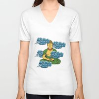 buddah V-neck T-shirts featuring Sakyamuni Buddah In The Clouds by Sarah Eldred