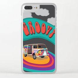 Groovy Camper Van Fantasy Clear iPhone Case