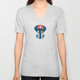 Cute Puppy Dog with flag of Cuba Unisex V-Neck