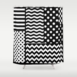 Mixed Patterns (Horizontal Stripes/Polka Dots/Wavy Stripes/Chevron/Checker) Shower Curtain