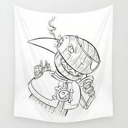 Robot Pirate - ink Wall Tapestry