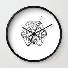 Geometric Crystal - Black and white geometric abstract design Wall Clock