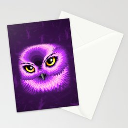 Pink Owl Eyes Stationery Cards