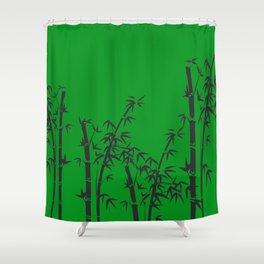 Bamboo black - green Shower Curtain