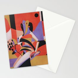 Woman, flowers and window Stationery Cards