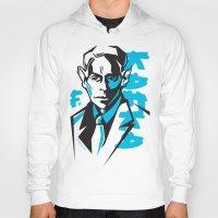 kafka Hoodies featuring Kafka portrait in Blue & Black by aygeartist