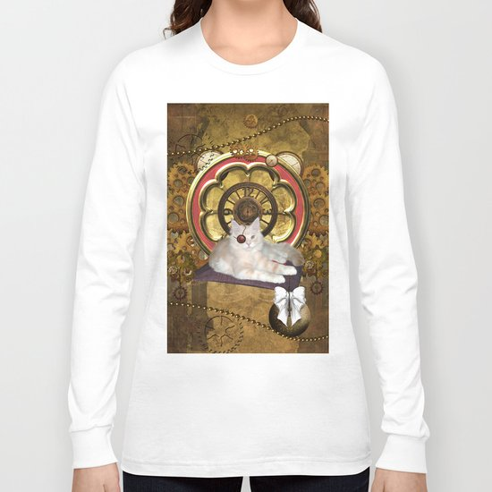 Steampunk, cute cat Long Sleeve T-shirt
