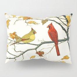 Vintage Japanese Drawing, Cardinals on an Autumn Branch Pillow Sham