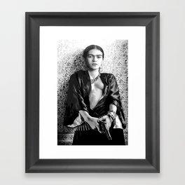 Frida with a Gun, Black and White, Vintage Wall Art Framed Art Print