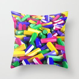Pile of colorful hexagon details Throw Pillow