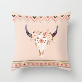 Bull Head Skull Boho Flowers Throw Pillow