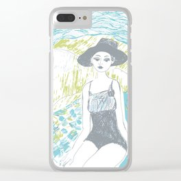Woman on the beach 2 Clear iPhone Case
