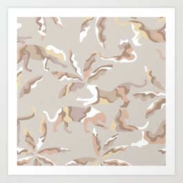 Abstract Jungle with Big Cats / Light Neutrals Art Print