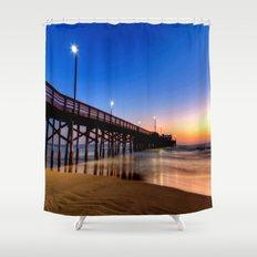 Lighted Beach Pier  Sunset 🌅 Shower Curtain
