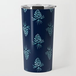 Light blueing navy-blue pine corns pattern Travel Mug