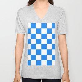 Large Checkered - White and Dodger Blue Unisex V-Neck