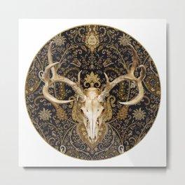 Deer Skull and Gold Paisley Metal Print