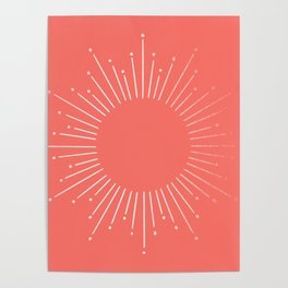 Living Coral Rose Gold Starburst Poster
