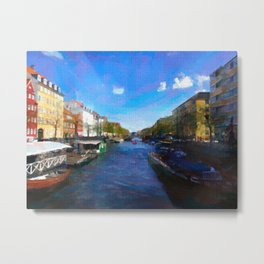 Strolling through Nyhavn Metal Print