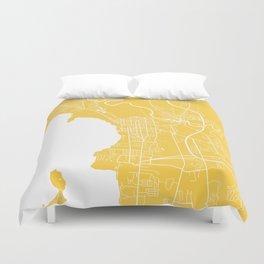 Burlington map yellow Duvet Cover