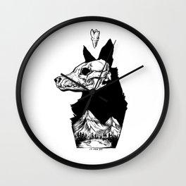 Black Wolf Mountain Wall Clock