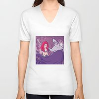 little mermaid V-neck T-shirts featuring Little mermaid by Jaimie Hutton