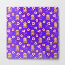 Funny happy little baby sloths. Sweet vintage retro lollipops. Cute purple winter pattern design Metal Print