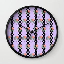 Stem Rose Watercolor Pattern Lavender Wall Clock