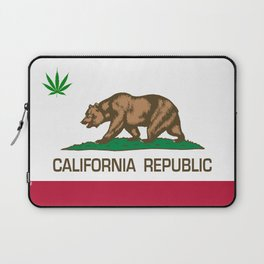 California Republic state flag with green Cannabis leaf Laptop Sleeve