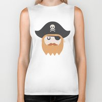 pirate Biker Tanks featuring Pirate by Beardy Graphics