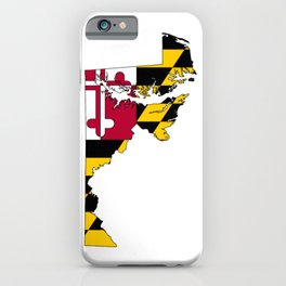 Map of Maryland with Maryland State Flag iPhone Case