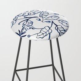 Tropical Plant Boho Chinoiserie Blue and White Bar Stool