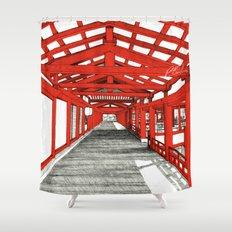 Japanese temple Shower Curtain