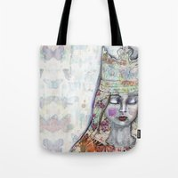 jane davenport Tote Bags featuring Butterfly Crown by Jane Davenport by Jane Davenport