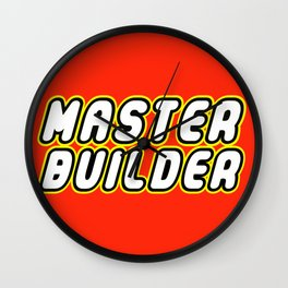 MASTER BUILDER in Brick Font Logo Design by Chillee Wilson Wall Clock