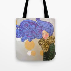 Woman with blue hair Tote Bag