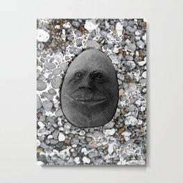 Happy Alien Monster Rock face , portrait in stone effect Metal Print
